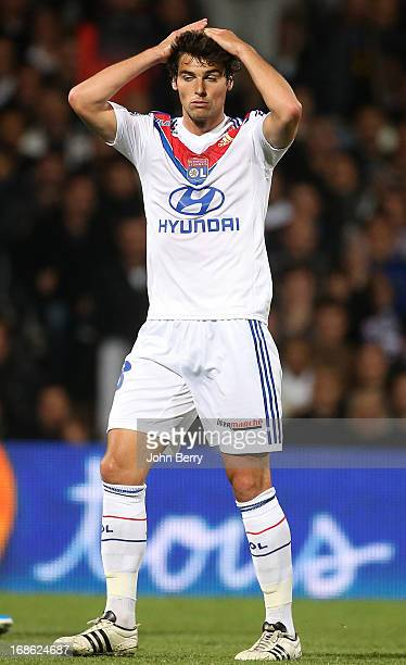 Yoann Gourcuff of Lyon reacts after receiving a yellow card during the Ligue 1 match between Olympique Lyonnais OL and Paris SaintGermain FC PSG at...