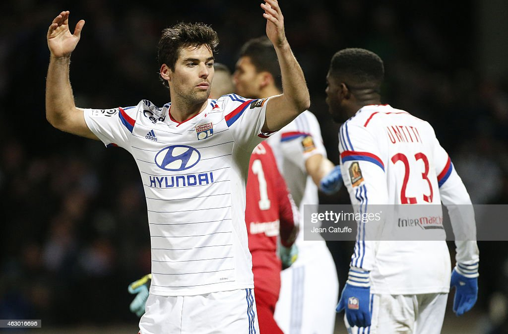 <a gi-track='captionPersonalityLinkClicked' href=/galleries/search?phrase=Yoann+Gourcuff&family=editorial&specificpeople=600434 ng-click='$event.stopPropagation()'>Yoann Gourcuff</a> of Lyon reacts during the French Ligue 1 match between Olympique Lyonnais (OL) and Paris Saint-Germain FC (PSG) at Stade de Gerland on February 8, 2015 in Lyon, France.