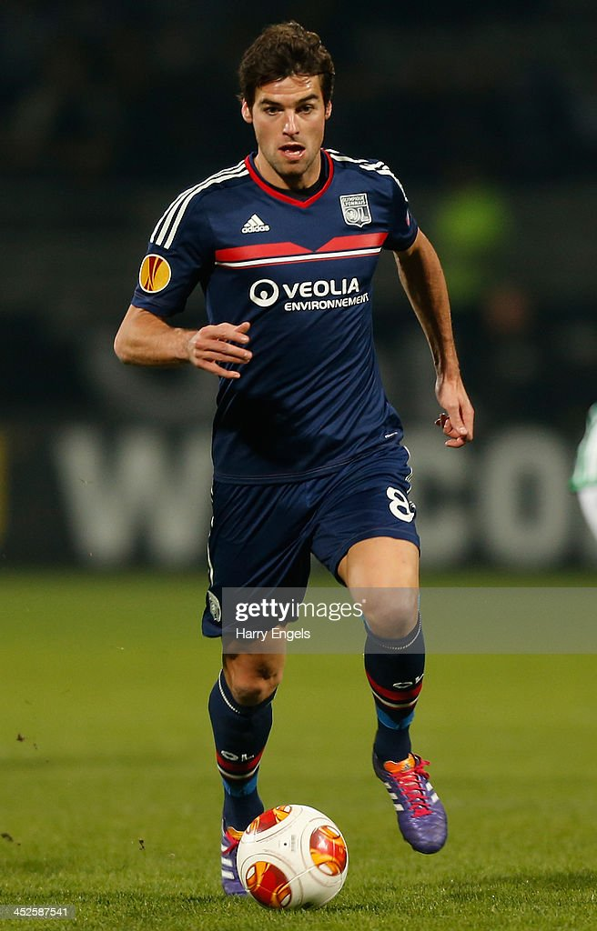 <a gi-track='captionPersonalityLinkClicked' href=/galleries/search?phrase=Yoann+Gourcuff&family=editorial&specificpeople=600434 ng-click='$event.stopPropagation()'>Yoann Gourcuff</a> of Olympique Lyonnais in action during the UEFA Europa League Group I match between Olympique Lyonnais and Real Betis Balompie at Stade de Gerland on November 28, 2013 in Lyon, France.