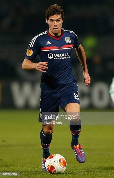 Yoann Gourcuff of Olympique Lyonnais in action during the UEFA Europa League Group I match between Olympique Lyonnais and Real Betis Balompie at...