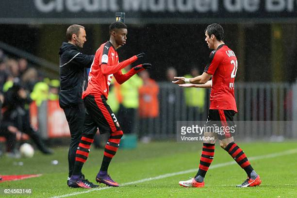 Yoann Gourcuff of Rennes and Adama Diakhaby during the Ligue 1 match between Stade Rennais and Sco Angers at Stade de la Route de Lorient on November...