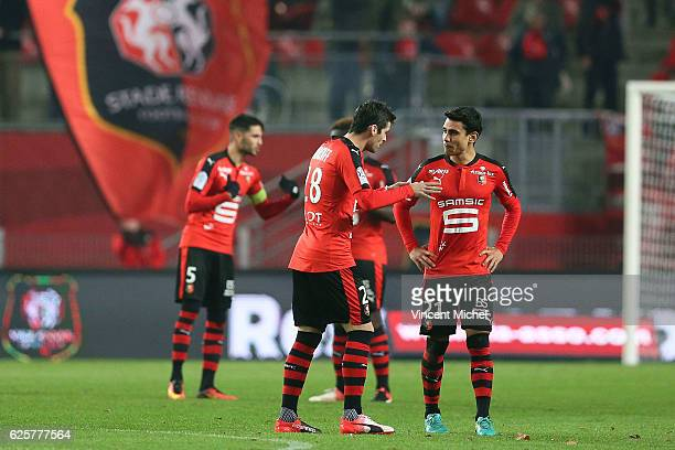 Yoann Gourcuff of Rennes and Benjamin Andre of Rennes during the French Ligue 1 match between Rennes and Toulouse at Roazhon Park on November 25 2016...