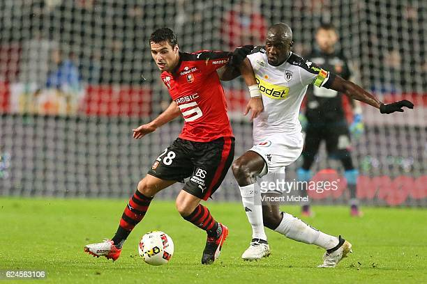 Yoann Gourcuff of Rennes and Cheikh Ndoye of Angers during the Ligue 1 match between Stade Rennais and Sco Angers at Stade de la Route de Lorient on...