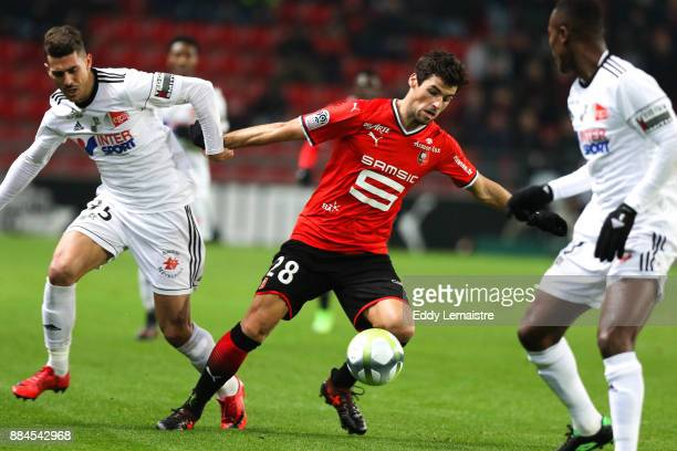 Yoann Gourcuff of Rennes and Danilo Avelar of Amiens during the Ligue 1 match between Stade Rennais and Amiens SC at Roazhon Park on December 2 2017...