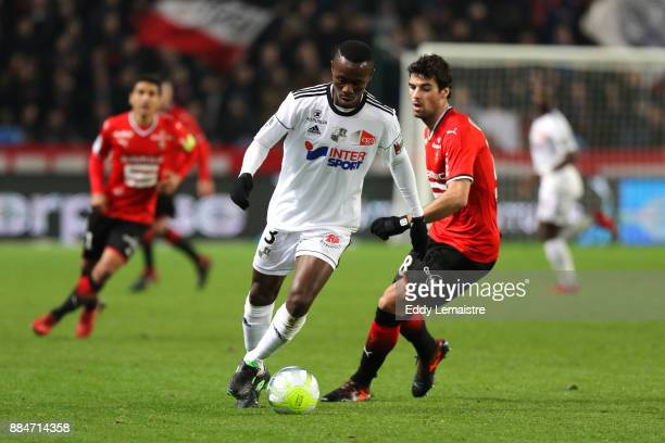 Yoann Gourcuff of Rennes and Khaled Adenon of Amiens during the Ligue 1 match between Stade Rennais and Amiens SC at Roazhon Park on December 2 2017...