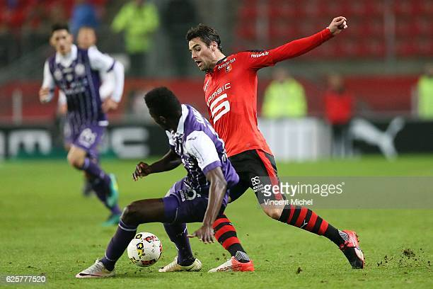 Yoann Gourcuff of Rennes and Somalia of Toulouse during the French Ligue 1 match between Rennes and Toulouse at Roazhon Park on November 25 2016 in...