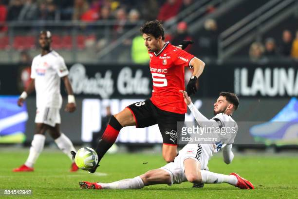 Yoann Gourcuff of Rennes and Thomas Monconduit of Amiens during the Ligue 1 match between Stade Rennais and Amiens SC at Roazhon Park on December 2...
