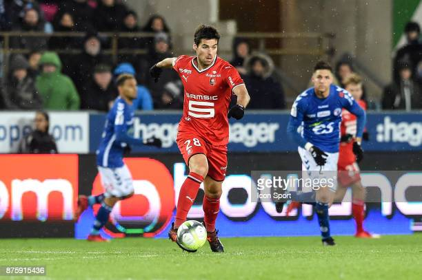 Yoann Gourcuff of Rennes during the Ligue 1 match between Strasbourg and Rennes at Stade de la Meinau on November 18 2017 in Strasbourg