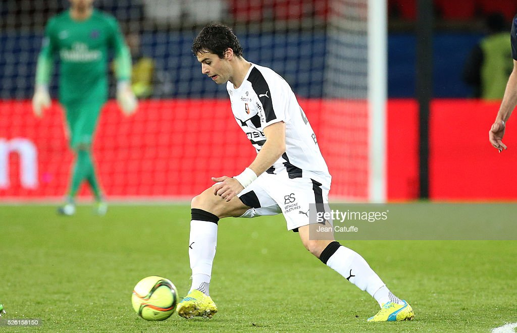 <a gi-track='captionPersonalityLinkClicked' href=/galleries/search?phrase=Yoann+Gourcuff&family=editorial&specificpeople=600434 ng-click='$event.stopPropagation()'>Yoann Gourcuff</a> of Rennes in action during the French Ligue 1 match between Paris Saint-Germain (PSG) and Stade Rennais FC at Parc des Princes stadium on April 29, 2016 in Paris, France.