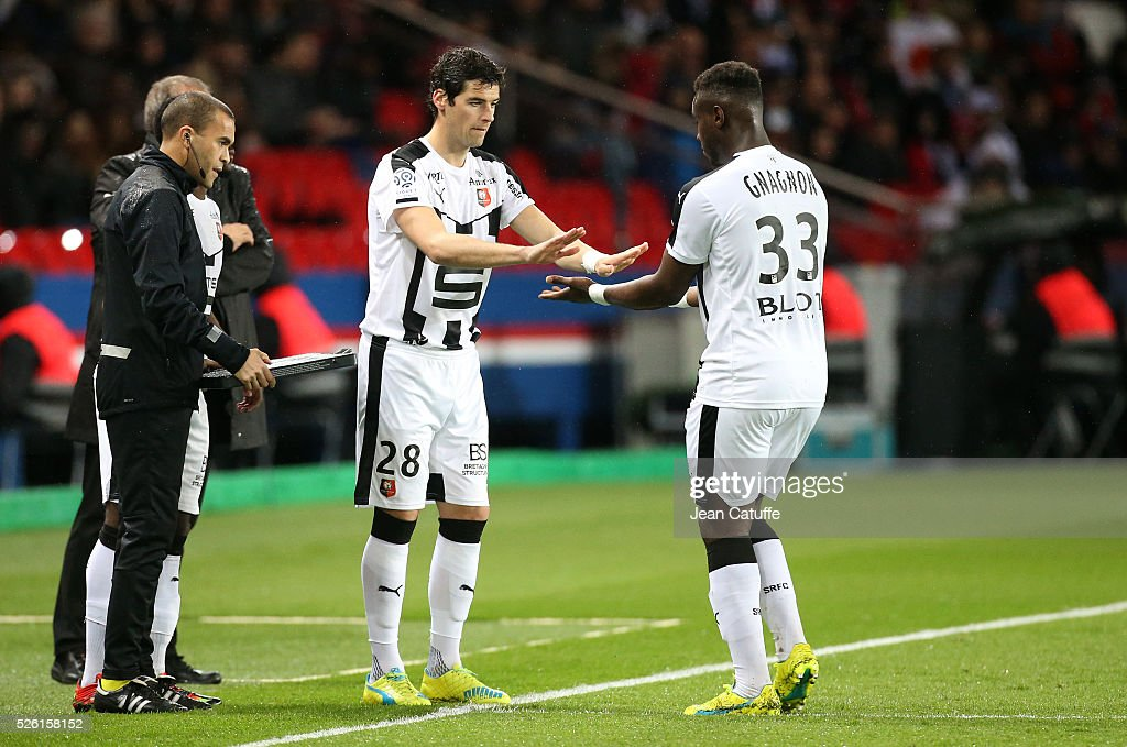 <a gi-track='captionPersonalityLinkClicked' href=/galleries/search?phrase=Yoann+Gourcuff&family=editorial&specificpeople=600434 ng-click='$event.stopPropagation()'>Yoann Gourcuff</a> of Rennes is replacing Joris Gnagnon during the French Ligue 1 match between Paris Saint-Germain (PSG) and Stade Rennais FC at Parc des Princes stadium on April 29, 2016 in Paris, France.