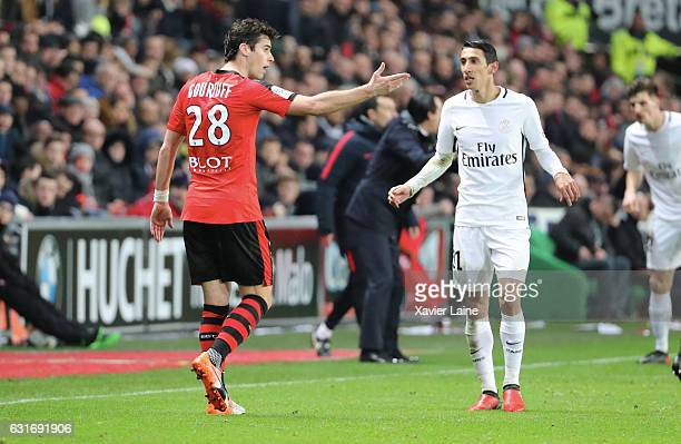 Yoann Gourcuff of Stade de Rennes react with Angel Di Maria of Paris SaintGermain during the French Ligue 1 match between Stade de Rennes and Paris...