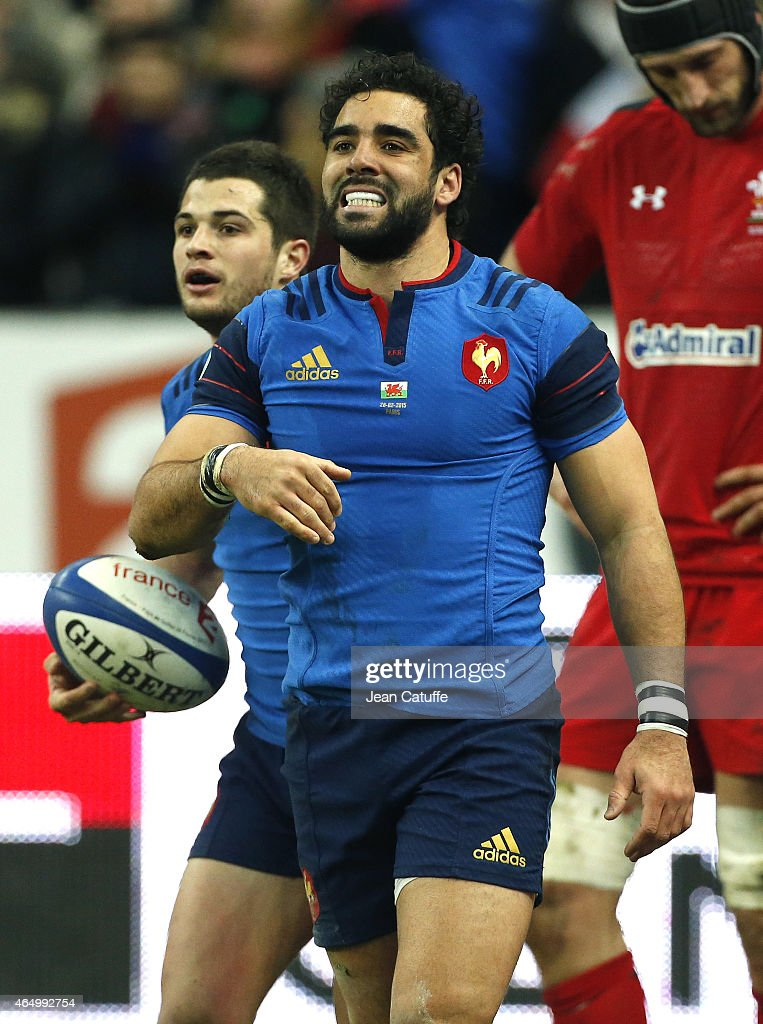 Yoann Huget and Brice Dulin of France react during the RBS Six Nations rugby match between France and Wales at Stade de France stadium on February 28, 2015 in Saint-Denis near Paris, France.