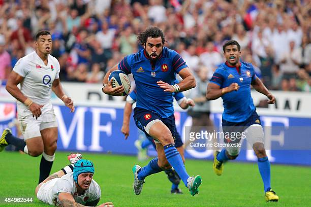 Yoann Huget of France breaks with the ball during the international friendly game between France and England at Stade de France on August 22 2015 in...