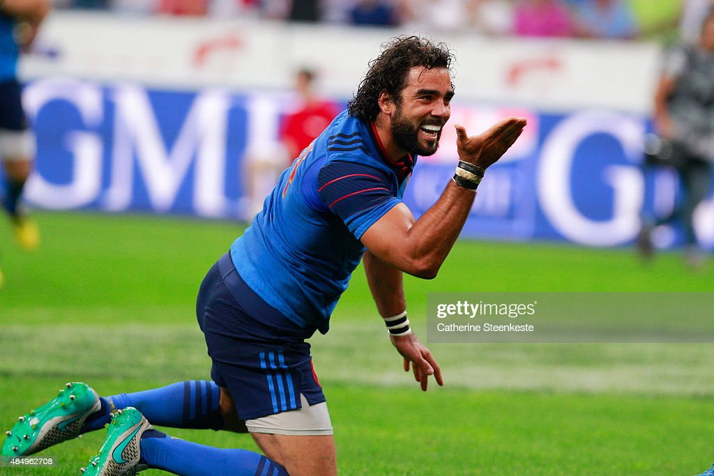 Yoann Huget #14 of France celebrates his try during the international friendly game between France and England at Stade de France on August 22, 2015 in Saint Denis near Paris, France.