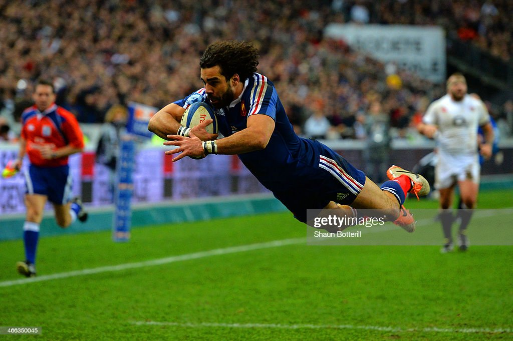 Yoann Huget of France goes over to score their second try during the RBS Six Nations match between France and England at Stade de France on February 1, 2014 in Paris, France.
