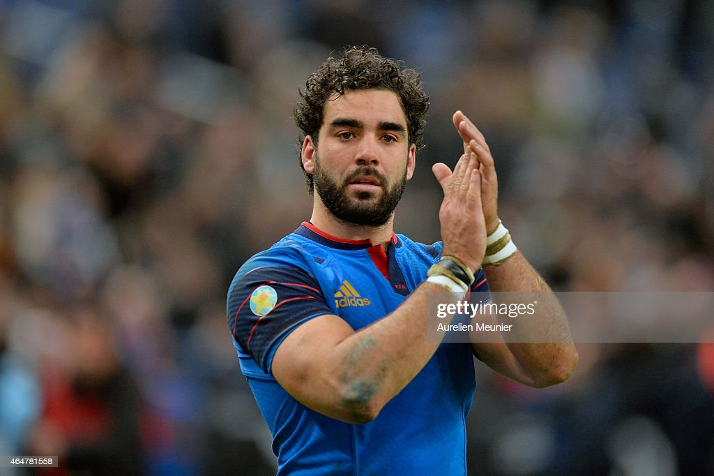 Yoann Huget of France reacts after the RBS Six Nations match between France and Wales at the Stade de France on February 28, 2015 in Paris, France.
