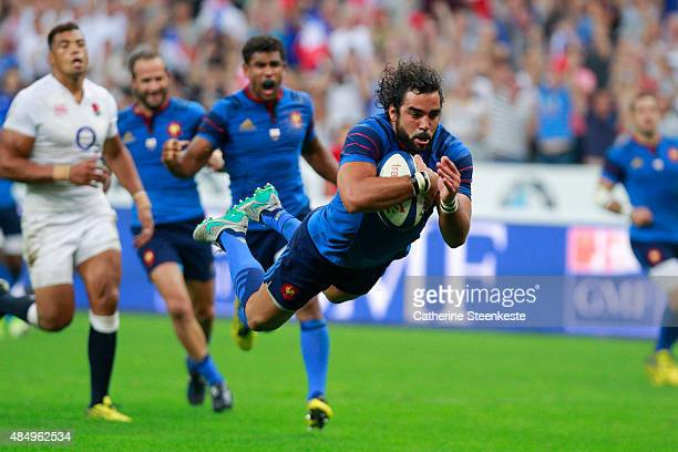 Yoann Huget of France scores a try during the international friendly game between France and England at Stade de France on August 22 2015 in Saint...