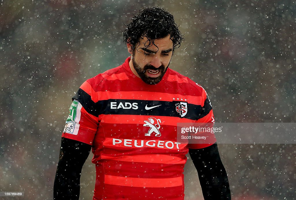 Yoann Huget of Toulouse looks dejected during the Heineken Cup match between Leicester Tigers and Toulouse at Welford Road on January 20, 2013 in Leicester, England.