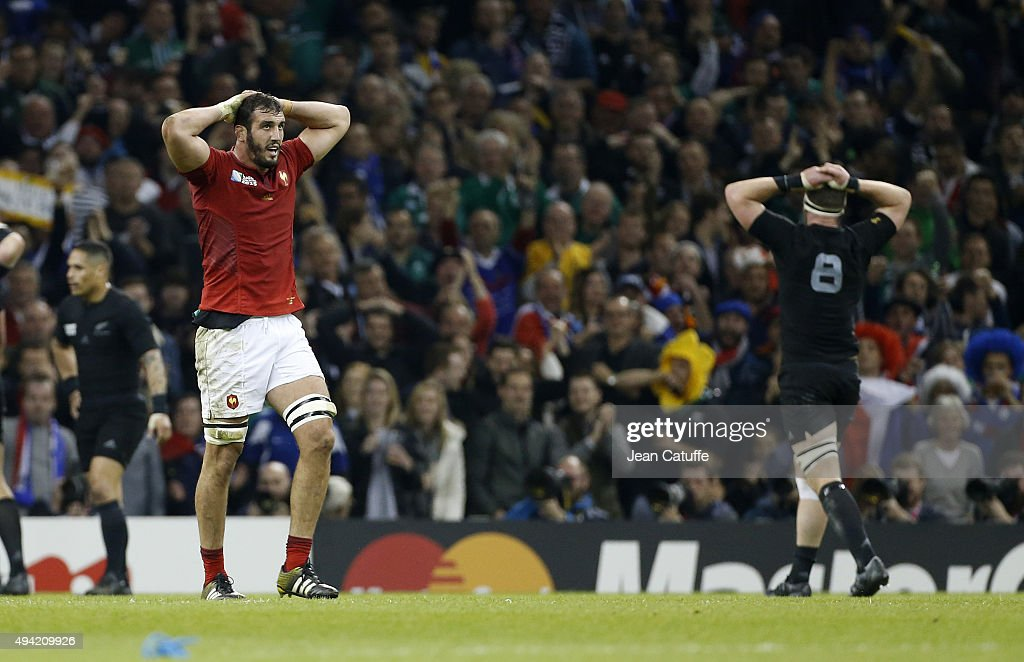 Yoann Maestri of France and Kieran Read of the New Zealand All Blacks reacts following the 2015 Rugby World Cup Quarter Final match between New Zealand and France at the Millennium Stadium on October 17, 2015 in Cardiff, United Kingdom.