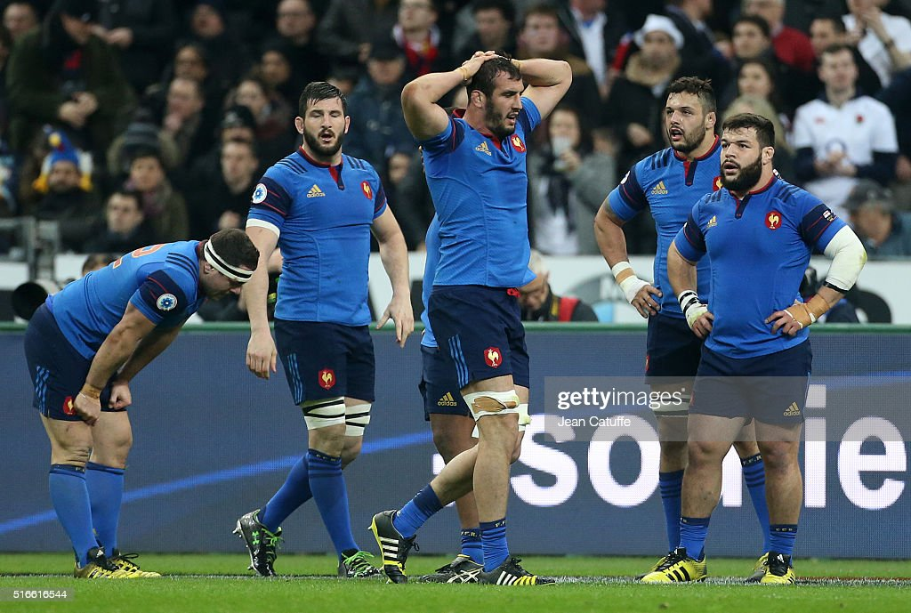 <a gi-track='captionPersonalityLinkClicked' href=/galleries/search?phrase=Yoann+Maestri&family=editorial&specificpeople=6704761 ng-click='$event.stopPropagation()'>Yoann Maestri</a> of France and teammates react during the RBS Six Nations match (crunch) between France and England at Stade de France on March 19, 2016 in Saint-Denis near Paris, France.