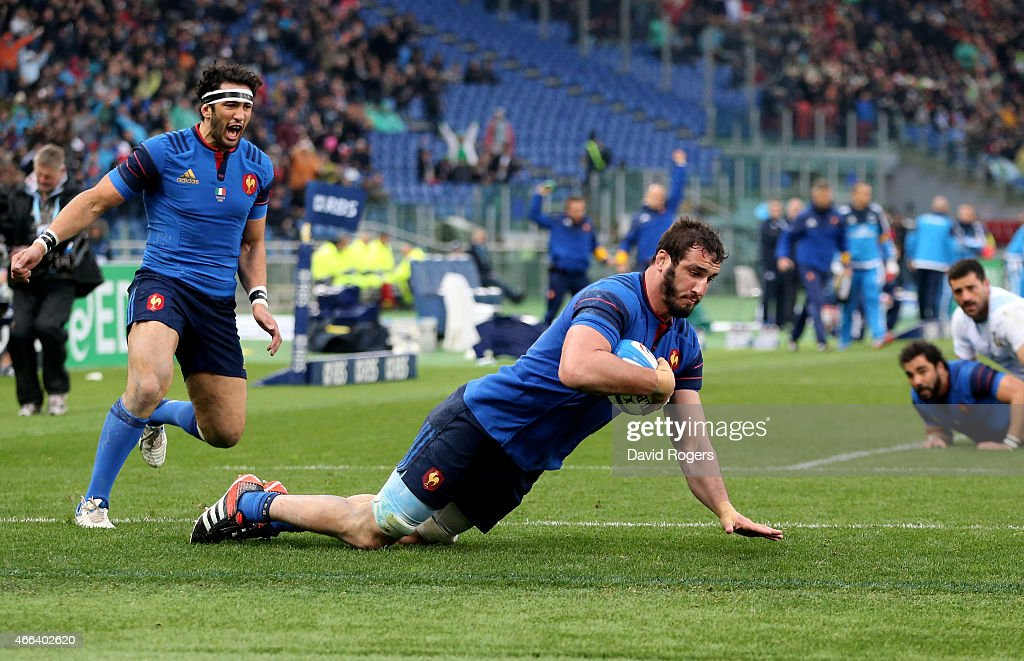Yoann Maestri of France dives over to score a try during the RBS Six Nations match between Italy and France at the Stadio Olimpico on March 15, 2015 in Rome, Italy.