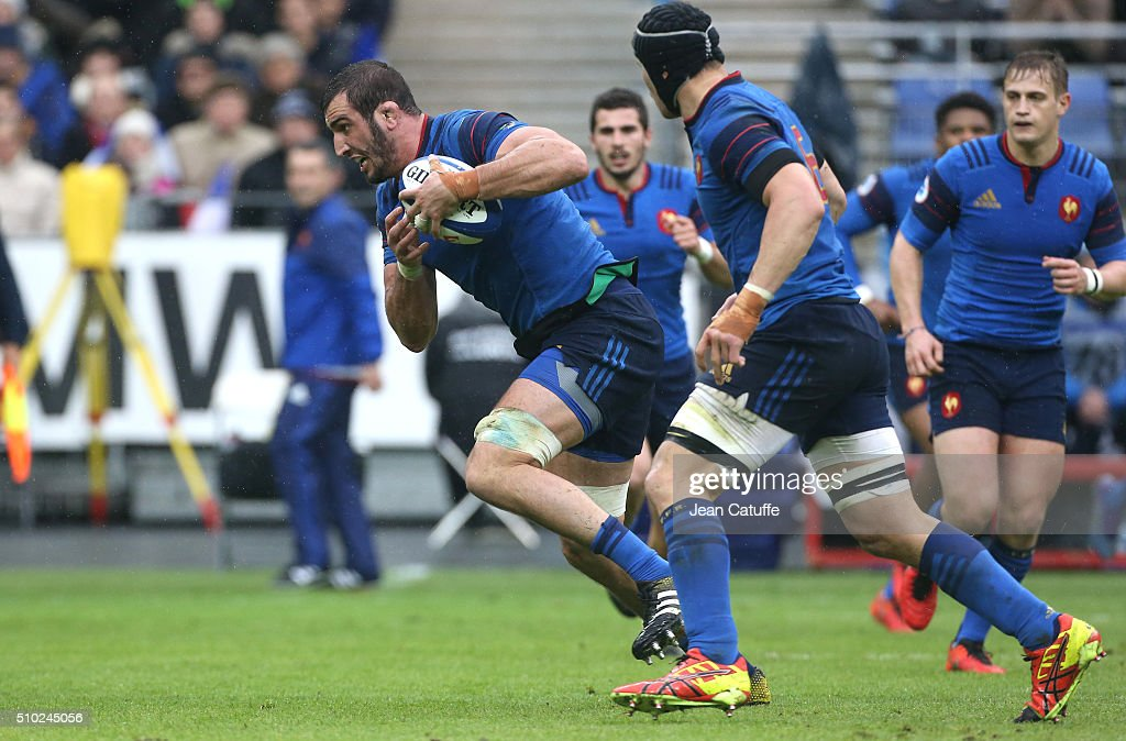 Yoann Maestri of France in action during the RBS 6 Nations match between France and Ireland at Stade de France on February 13, 2016 in Saint-Denis nearby Paris, France.
