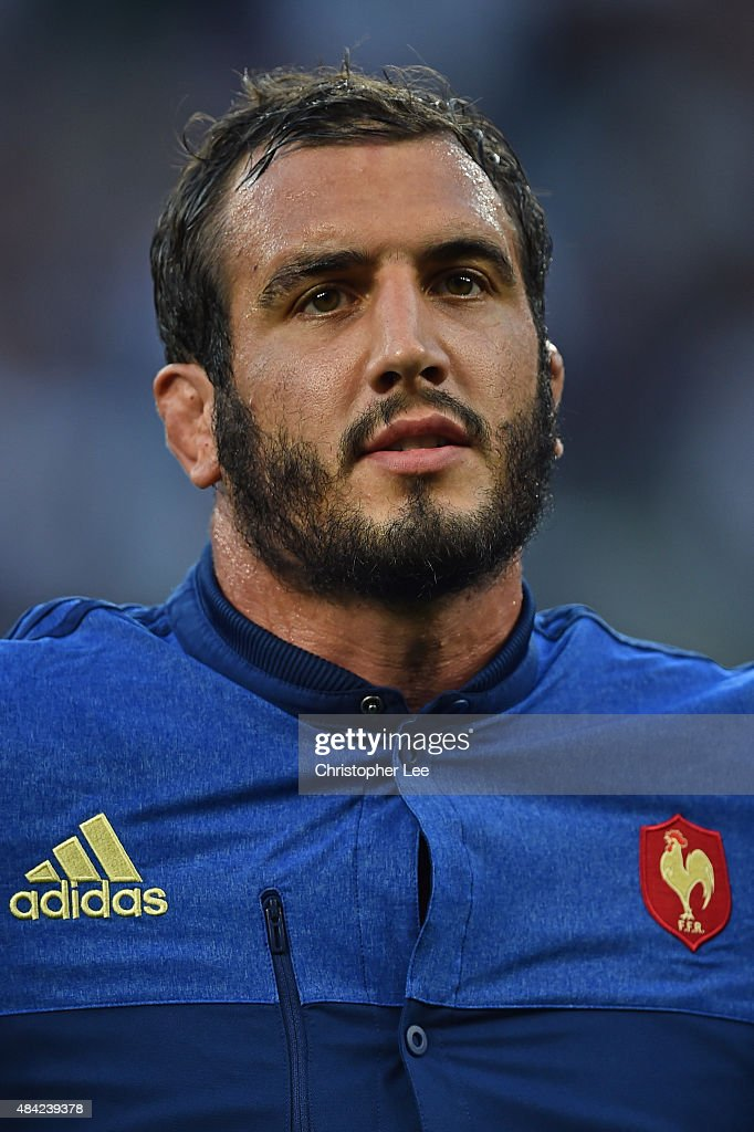 Yoann Maestri of France lines up for the national anthems during the QBE International match between England and France at Twickenham Stadium on August 15, 2015 in London, England.
