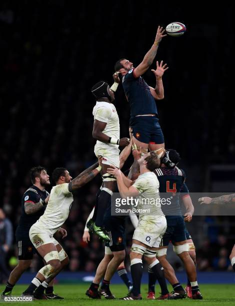 Yoann Maestri of France wins a line out against Maro Itoje of England during the RBS Six Nations match between England and France at Twickenham...