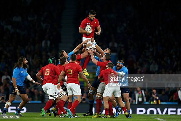 Yoann Maestri of France wins the lineout during the 2015 Rugby World Cup Pool D match between France and Italy at Twickenham Stadium on September 19...