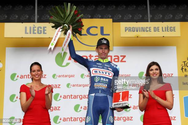 Yoann Offredo of France and Wanty Groupe Gobert stands on the podium with the most combative cyclist of the race award following stage two of the...