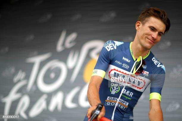 Yoann Offredo of France riding for WantyGroupe Gobert signs in during stage 11 of the 2017 Le Tour de France a 2035km stage from Eymet to Pau on July...