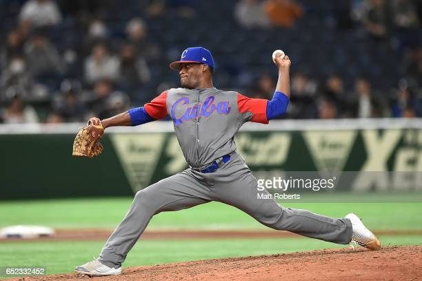 Yoanni Yera of Cuba pitches in the fifth inning during the World Baseball Classic Pool E Game One between Cuba and Israel at Tokyo Dome on March 12...