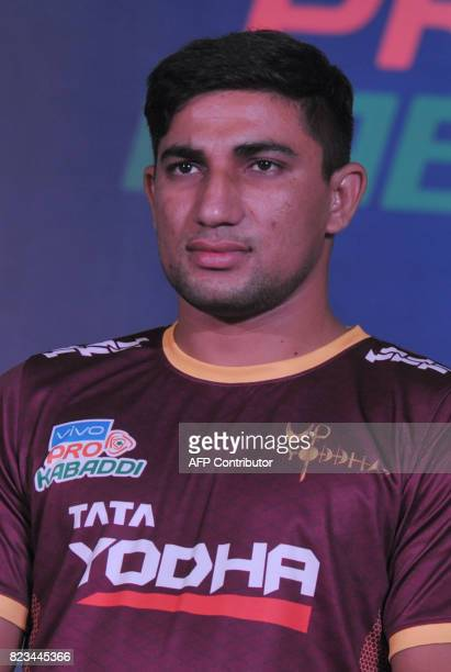UP Yodha Team kabaddi captain Nitin Tomar poses during an event for the fifth edition of the Pro Kabaddi League 2017 in Hyderabad on July 27 2017 The...