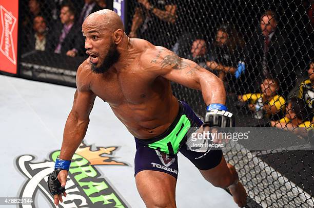 Yoel Romero of Cuba celebrates after defeating Lyoto Machida of Brazil in their middleweight during the UFC Fight Night event at the Hard Rock Live...