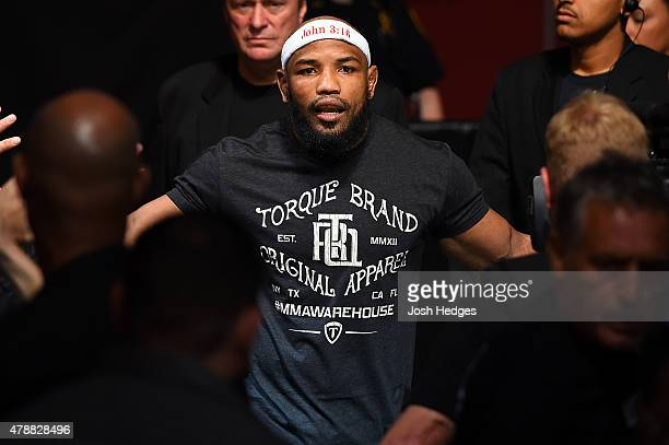 Yoel Romero of Cuba enters the arena before facing Lyoto Machida in their middleweight during the UFC Fight Night event at the Hard Rock Live on June...