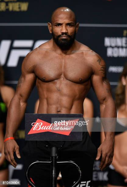 Yoel Romero of Cuba poses on the scale during the UFC 213 weighin at the Park Theater on July 7 2017 in Las Vegas Nevada