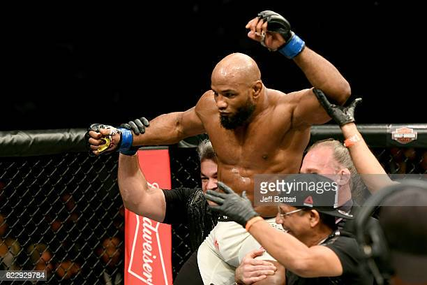 Yoel Romero of Cuba reacts after his KO victory over Chris Weidman of the United States in their middleweight bout during the UFC 205 event at...