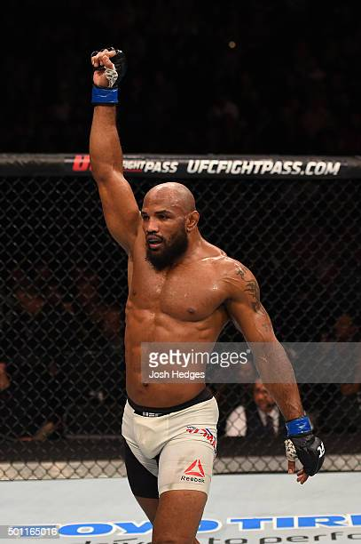 Yoel Romero of Cuba reacts to his victory over Ronaldo 'Jacare' Souza of Brazil in their middleweight bout during the UFC 194 event inside MGM Grand...