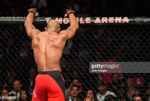 Yoel Romero of Cuba stands in his corner between rounds of his interim UFC middleweight championship bout against Robert Whittaker during the UFC 213...