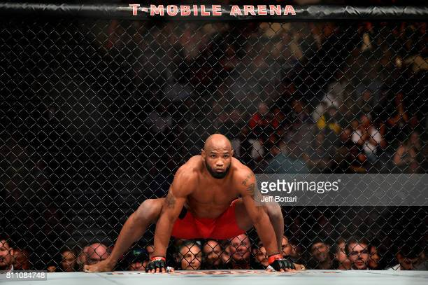 Yoel Romero of Cuba stretches in his corner prior to facing Robert Whittaker of New Zealand in their interim UFC middleweight championship bout...