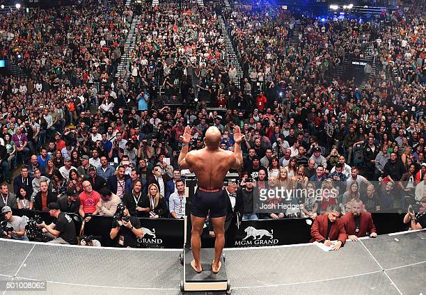 Yoel Romero of Cuba weighs in during the UFC 194 weighin inside MGM Grand Garden Arena on December 10 2015 in Las Vegas Nevada