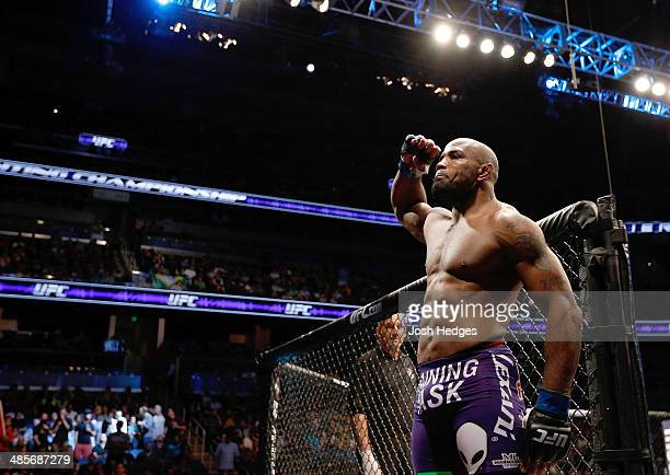 Yoel Romero prepares to enter the Octagon before his middleweight bout against Brad Tavares during the FOX UFC Saturday event at the Amway Center on...
