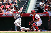 Yoenis Cedspedes of the Boston Red Sox hits a three run home run to break a scoreless tie in the eighth inning against the Los Angeles Angels of...