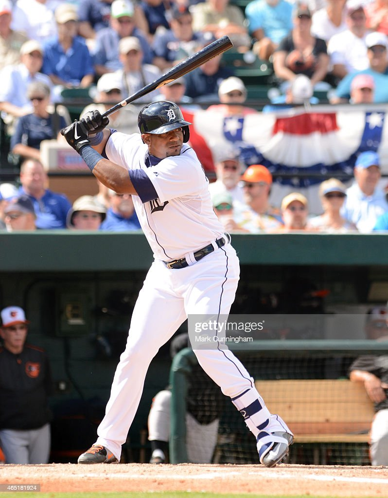 Yoenis Cespedes #52 of the Detroit Tigers bats during the Spring Training game against the Baltimore Orioles at Joker Marchant Stadium on March 3, 2015 in Lakeland, Florida. The Tigers defeated the Orioles 15-2.