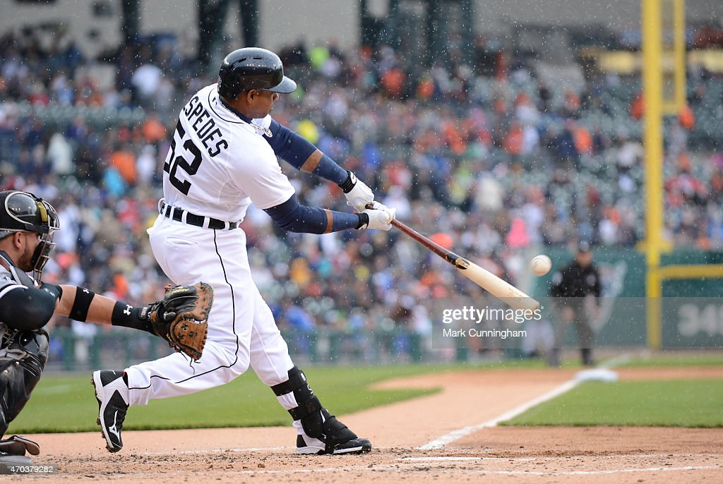 Yoenis Cespedes of the Detroit Tigers hits a grandslam home run in the first inning of the game against the Chicago White Sox at Comerica Park on...