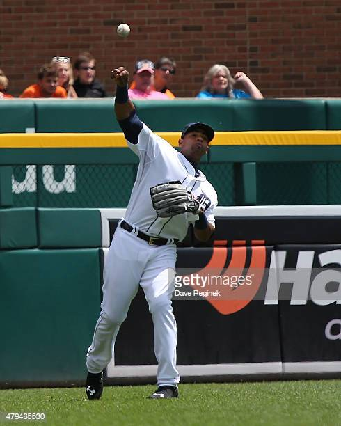 Yoenis Cespedes of the Detroit Tigers throws the baseball against the Chicago White Sox at Comerica Park on June 28 2015 in Detroit Michigan The...