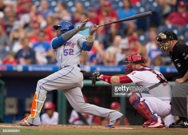 Yoenis Cespedes of the New York Mets bats against the Philadelphia Phillies at Citizens Bank Park on August 10 2017 in Philadelphia Pennsylvania The...