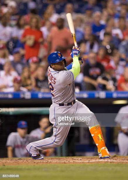 Yoenis Cespedes of the New York Mets bats against the Philadelphia Phillies at Citizens Bank Park on August 11 2017 in Philadelphia Pennsylvania