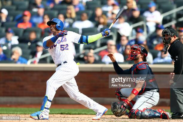 Yoenis Cespedes of the New York Mets bats during the game against the Atlanta Braves at Citi Field on Monday April 3 2017 in the Queens borough of...