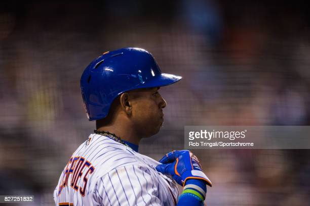Yoenis Cespedes of the New York Mets bats during the game against the Oakland Athletics at Citi Field on July 21 2017 in the Queens borough of New...